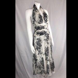Tadashi Shoji Fit Flare Halter White Silk Dress